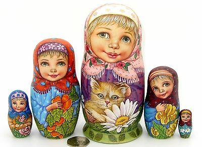 Russian Doll 5 Girls Ginger Kitten SOKIRKINA Original HAND PAINTED MATT BABUSHKA