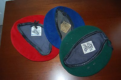 Post WW2 West German Berets in Green ,Blue, and Red
