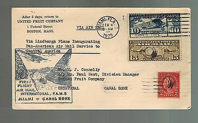 1929 Miami USA First Flight Cover to Canal Zone FFC FAM 5 Lindbergh United Fruit
