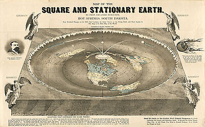 "1893 Map 16""x23"" Square and Stationary Earth Orlando Ferguson Flat Earth Poster"
