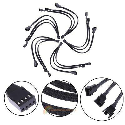 4Pin PWM Fan Cable Cooling 1 to 3 Way Splitter Black Sleeved Extension Cable LOT