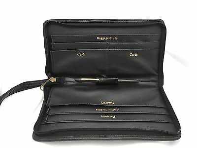 """LEATHER PASSPORT BOARDING PASS TICKETS  TRAVEL WALLET 9"""" L Black New"""