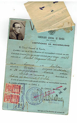Spain 1940 Passport from Consul in Portugal to Jewish Refugee Carlos Peruch