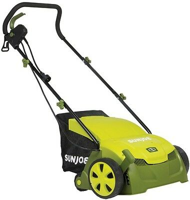 Electric Lawn Dethatcher Scarifier Grass Yard Bag Corded Rake Remover Tines Tool