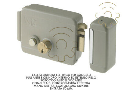 Yale lock electrical for gates hand right box mm 130 x 105 entrance 50 mm
