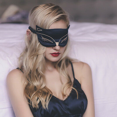 Embroidery Silk Sleeping Sleep Eye Mask Blindfold Lights Out Travel Relax Soft