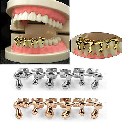 Custom Fit 14k Gold Plated Hip Hop Teeth Drip Grillz Caps Lower Bottom Grill AL