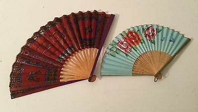 Vintage Folding Fans lot of 2 Flowers & Asian Design
