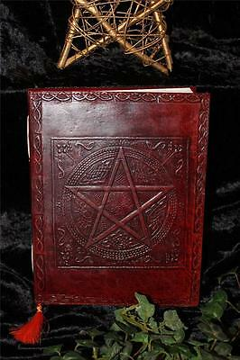 Pentacle Leather Bound Journal/book Of Shadows ~ Hand Made Paper