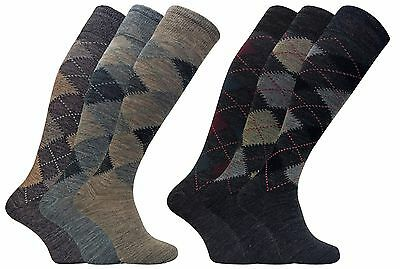 Mens 3 Pairs Warm Extra Long Over the Calf Argyle Patterned Lambs Wool Socks
