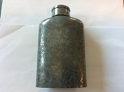 Early 1900's Derby Silver Company Played Flask w/ Built In Cup/lid Decorative