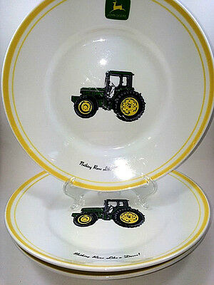 3 John Deere Green Tractor Salad Plates/Bowls Green Yellow Farm Implement