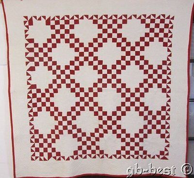 Master Quilting! c 1890s Turkey Red Chain Antique Quilt BROKEN Dishes Border