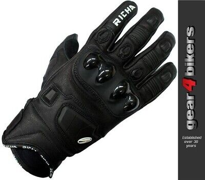 Richa Rock Short Black Leather Sports Motorcycle Glove All Sizes Gloves Scooter