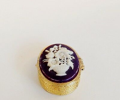 Solid Perfume Compact Flower Basket Cameo Wine Enamel Spring Hinge Case Empty
