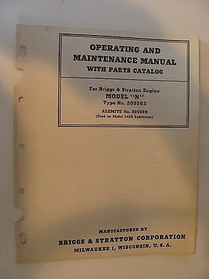 Briggs & Stratton Operating Maintenance Manual Parts Catalog Model N Engine 1945