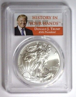 2017 DONALD TRUMP Silver Eagle ASE $1 ~ First Strike PCGS MS-70  #065