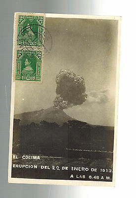 1913 Colima Mexico rppc postcard Cover to Argentina Volcano Eruption