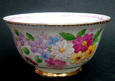 Vintage Tuscan Summer Flowers C8354 Tea Size Open Sugar Slop Bowl 13cmw in VGC