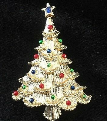 Vintage Gerry's Christmas Tree Pin / Brooch Gold Tone Red Green Blue