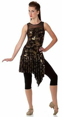 A Little Bit Stronger Dance Costume GOLD Capri Unitard Clearance Child Large