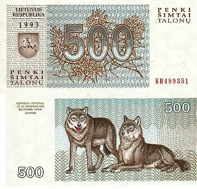 Lithuania,  500 Talonas,  1993,  P-46,  Wolf, Unc Banknote  Europe