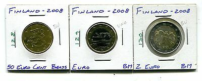 Finland : Lot of 3 different 2008 UNC coins