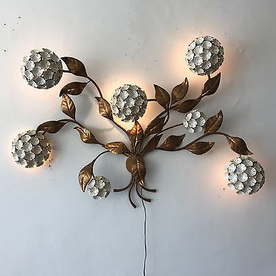 VINTAGE ITALIAN WALL SCONCE LIGHT LAMP SCULPTURE c1960 RARE FLORAL FLOWERS GOLD