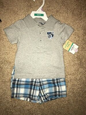 Baby Boys Size 9 Months Outfit NWT Carter's Plaid Shorts & Collared T-shirt $20