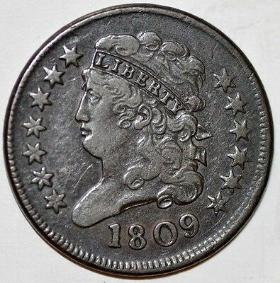 1809 1/2 Cent Draped Bust C-2 R3 Close 09 Great Surfaces