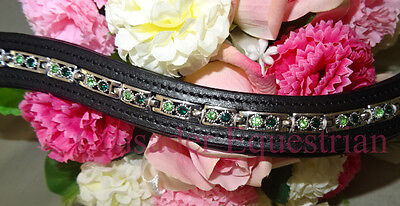 Horse Riding show Browband Black Leather, Green diamontes Large size horse bling