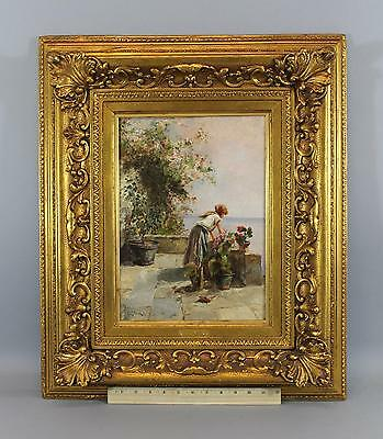 19thC Antique Signed Italian Genre Oil Painting Mediterranean Woman & Flowers