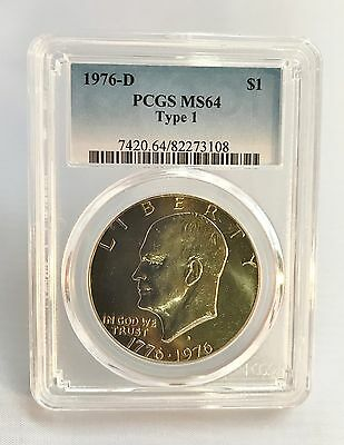 1976 D Eisenhower Dollar, MS64 Type 1 - PCGS - Nice Coin