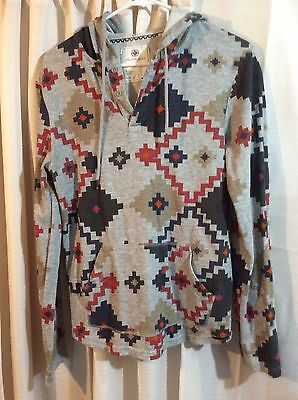 Womens On The Byas Hoodie Pixel Pattern Long Sleeve Pull-Over Hooded Size Small