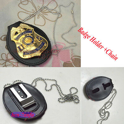 Universal Badgeholder Leather Police Detective Badge Holder w/ Chain & Clip