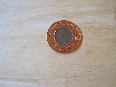 1906 U.S. Indian Head Cent Encased Coin, One Penny Coin