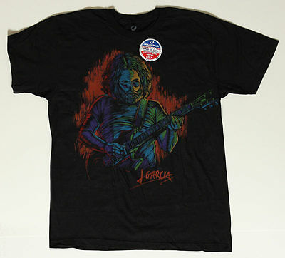 Jerry Garcia Guitar Rock Concert M Shirt - Grateful Dead Band Art - Liquid Blue