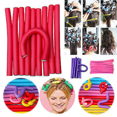 10Pcs Simple Soft Foam Curler Makers Bendy Twist Curls Tool Styling Hair New CO