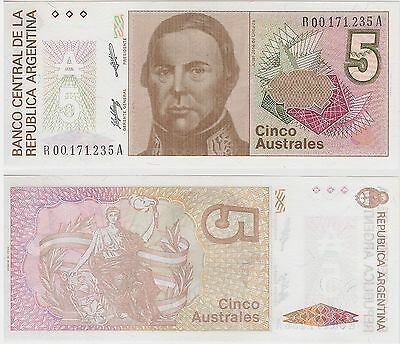 ARGENTINA, 5  AUSTRALES, REPLACEMENT,  P 324b,  UNC,  BANKNOTE,  SOUTH AMERICA