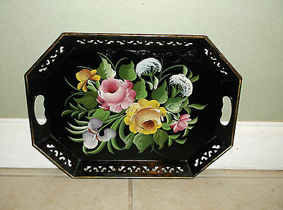 Vintage Hand Painted Floral Motif Decorator Tole Tray