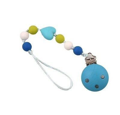 Baby Infant Pacifier Chain Holder Silicone Bead Teething Binky Clip Soother Gift