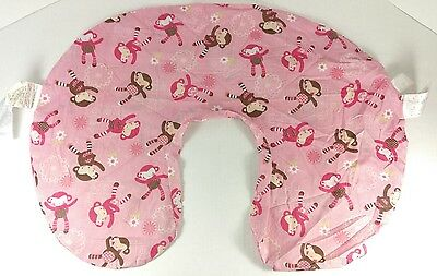 Boppy Nursing Pillow Slip Cover Pink Girl Monkeys