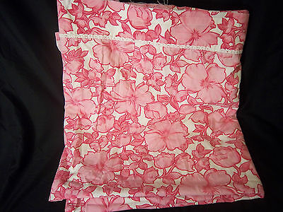 Wabasso Pink Floral Double Full Flat Sheet Cutter Fabric Crafts Lace Trim 1970s
