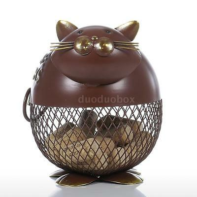 Tooarts Puffy Cat Wine Cork Container Home Decor Metal Sculpture Animal Hot D1Q4