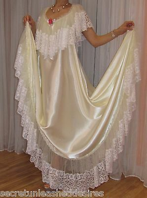 Vtg satin nylon lace lingerie nightgown long full sweep negligee 2X-4X
