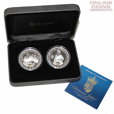 2012 Perth Mint HM QEII Diamond Jubilee 1oz Silver Proof Two Coin Set Gold Gild