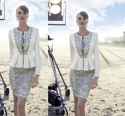 2017 Ivory and Grey Short Lace Mother of the Bride Dress with Jacket Plus Size