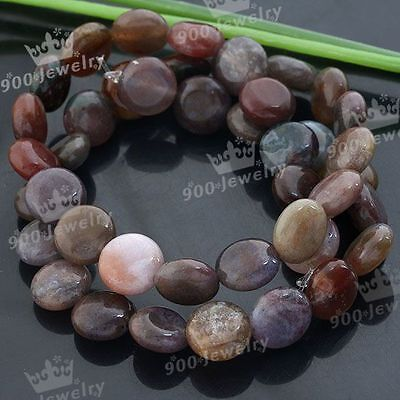 """1 Strand 10*5mm Oblate Indian Agate Gemstone Loose Beads 15"""" Jewelry Findings"""