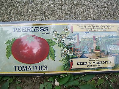 Vintage  Dean and Meredith Wingate MD Tomato Can Label Unused
