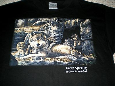 Black WOLF T-shirt Sz L First Spring Wolf Family by artist Tom Antonishak